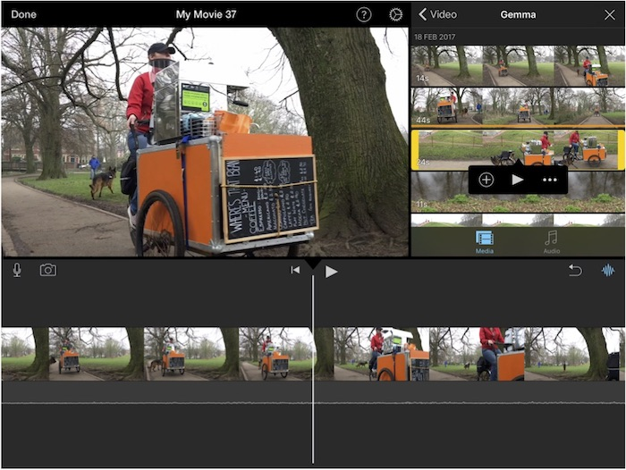iMovie on an iPad