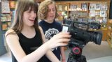 two girls camera