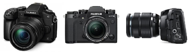 Three filmmaking cameras
